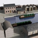 Early CGI of the Shrewsbury canal basin. Much more work to do.